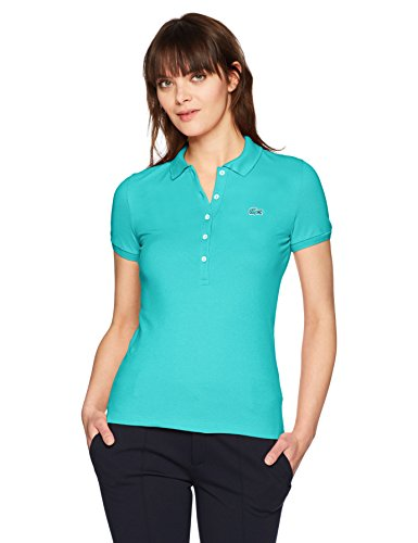 Classic Pique Polo - Lacoste Women's Classic Short Sleeve Slim Fit Stretch Pique Polo, PF7845, Atoll, 8