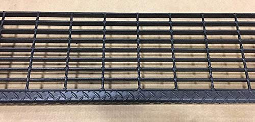Black Painted Steel Serrated Surface Bar Grating Stair Tread, 24'' Width, 9.75'' Depth by DIRECT METALS