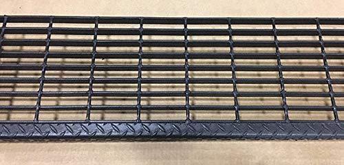Black Painted Steel Serrated Surface Bar Grating Stair Tread, 24'' Width, 9.75'' Depth
