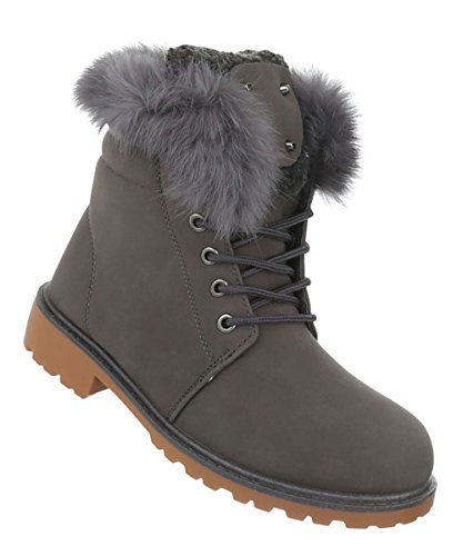 Damen Schuhe Stiefeletten Schnürer Boots Grau
