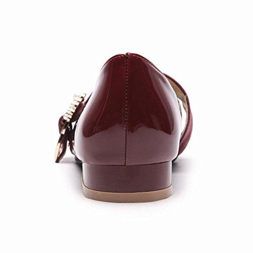 Carolbar Donna Chic Punta A Punta Retro Fibbia Con Perline Mary Janes Scarpe Vino Rosso