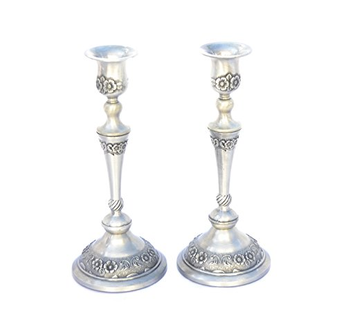 Amazing Candlesticks Pair Pewter Candles Holders Shabbat Israel.flowers Design