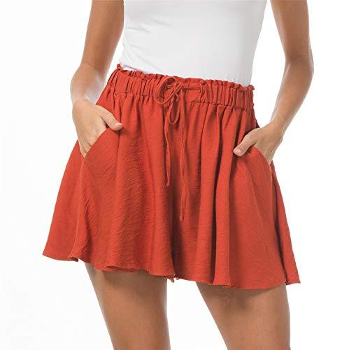 (Solatin Women's Drawstring Elastic Waist Casual Comfy Cotton Linen Beach Shorts Orange S)
