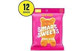SmartSweets Gummy Bears Fruity Candy With Low-Sugar (3g) & Low Calorie (90)- Free of Sugar Alcohols & No Artificial Sweeteners, Sweetened With Stevia, 1.8 Ounce (Pack of 12)