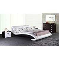 Greatime B2001 Queen Black and White Platform Bed