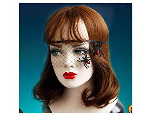 Halloween Halloween Women Costume Spider Black Tulle Veil for Woman Dancing Masquerade Ball Costume Party Mask -