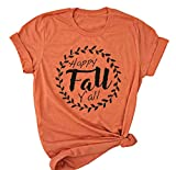 YUYUEYUE Happy Fall Y'all T Shirt Women Cute Graphic Thanksgiving T-Shirt Autumn Leaves Short Sleeve Tees Top (Small, Orange)