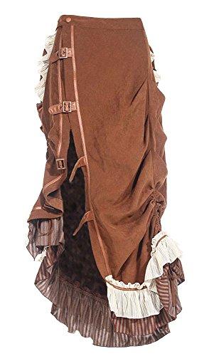 RQ-BL Longue Jupe Marron Vintage Steampunk Sangles Dos pliss rqbl Marron