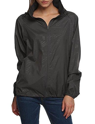 Elesol Women's Lightweight Jacket UV Protect+Quick Dry Windproof Skin Coat,Gray,L