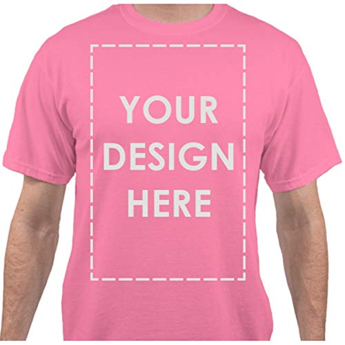 Add Your Own Custom Text Name Personalized Message or Image Neon Pink T-Shirt - Small