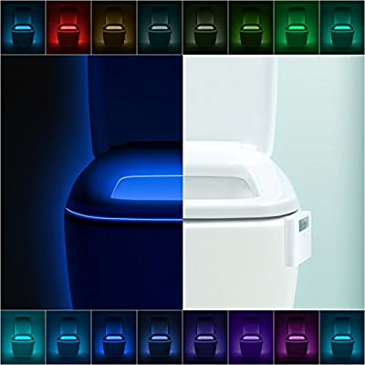 LumiLux Advanced 16-Color Motion Sensor LED Toilet Bowl Night Light, Internal Memory, Light Detection
