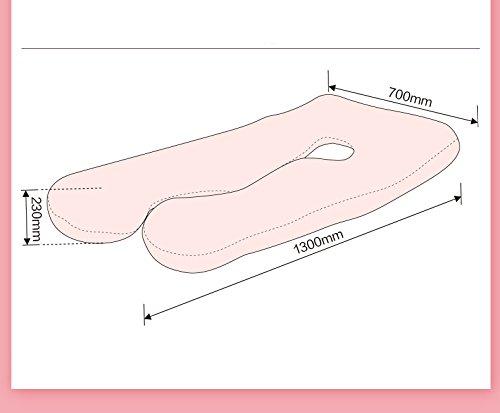 Asamoom Almohada con Forma de U Almohada de Embarazo y Maternidad con Funda extra/íble y Lavable