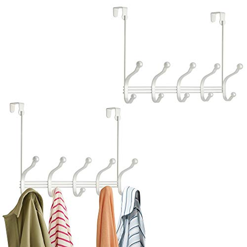 mDesign Decorative Over Door 10 Hook Metal Storage Organizer Rack for Coats, Hoodies, Hats, Scarves, Purses, Leashes, Bath Towels, Robes, Men and Womens Clothing - 2 Pack - Pearl White