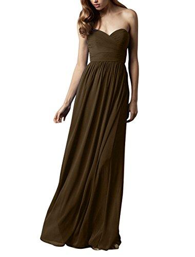 Partykleider mia Brau Elegant Abschlussballkleider Abendkleider La Lang Braun Chiffon Herzausschnitt Brautjungfernkleider d0Aax5qRw