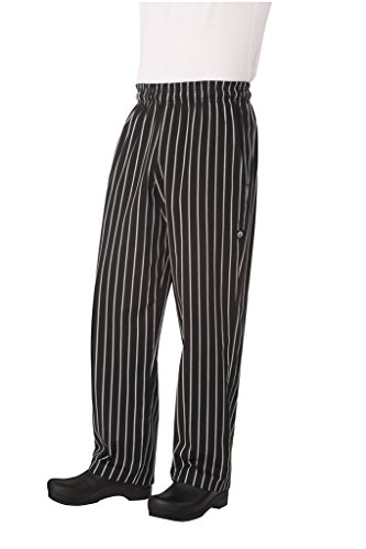 Chef Works Men's Designer Baggy Chef Pants, Black W/Chalk Stripe, Large