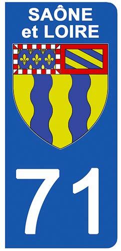 71 Blason SA/ÔNE ET Loire- Stickers Garanti 5 Ans aux Rayons UV. Stickers recouvert dun pelliculage sp/écifique pour Resister aux intemp/éries DECO-IDEES 2 Stickers pour Plaque dimmatriculation