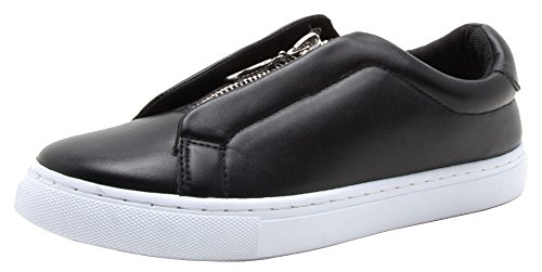 Qupid Dames Lage Top Gesloten Ronde Neus Rits Pull Fashion Sneaker Zwart