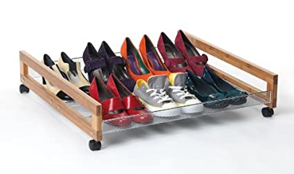 Under Bed Bamboo And Chrome Stacking Shoe Rack With Wheels For 8 Pairs Stackable Shoe Trolley