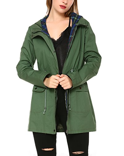Mixfeer Women's Multifunction Anorak Parka Hoodie Drawstring Jacket with Pockets