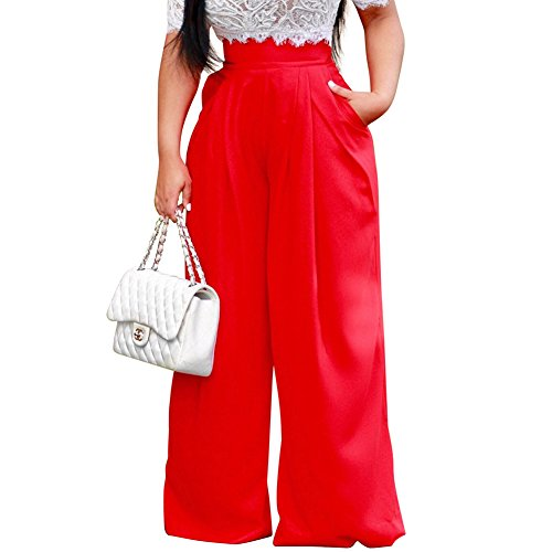 Dreamparis Women's Casual Wide Leg Long Pants Solid Flare Palazzo Pants Trousers X-Large Red - Wide Leg Palazzo Pants