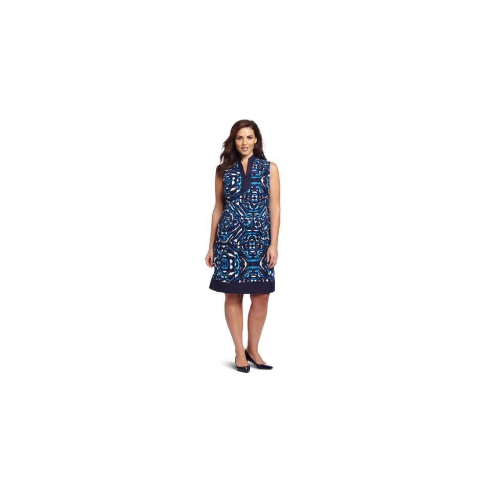 Jessica Howard Womens Plus Size Mandarin Linen Dress, Blue, 18W