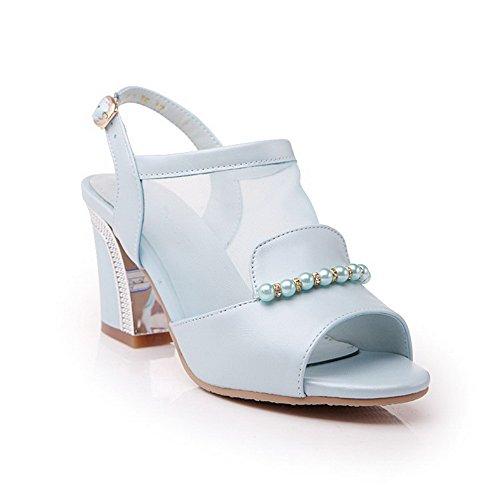 Amoonyfashion Mujeres High Heels Material Suave Solid Hebilla Open Toe Sandals Blue