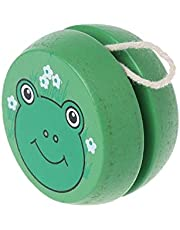 BEESCLOVER Cute Animal Prints Wooden Yoyo Toys Easy Educational Toys Classic Toy Green One Size