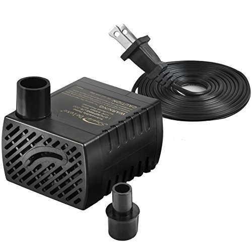 Mini Ceramic Fountain (Simple Deluxe 80 GPH Submersible Pump with Adjustable Intake & 6' Waterproof Cord for Hydroponics, Aquaponics, Fountains, Ponds, Statuary, Aquariums & more, 1 year warranty)