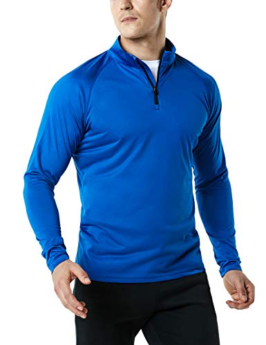 TSLA Men's 1/4 Zip HyperDri Cool Dry Active Sporty Shirt Top, Hyper Dri(mkz03) - Royal Blue, Medium
