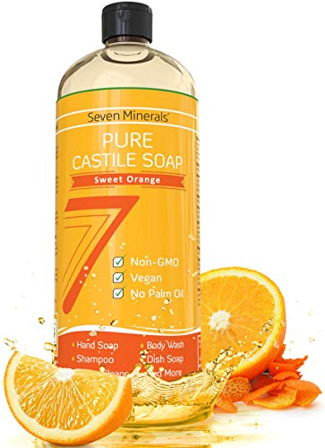 Seven Minerals Pure Castile Soap, Sweet Orange - NO Palm Oil - MILD & GENTLE Liquid Soap For Sensitive Skin - All Natural, Non GMO & Vegan Formula with Organic Essential Oils - 33.8 oz