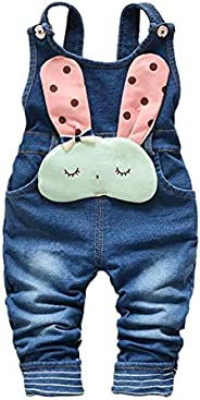 Kidscool Space Baby Toddler Girls Soft Knitted Cotton Denim Cute Cartoon Overalls