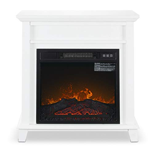 nitipezzo Sleek Modern Design New X-Large Deluxe Mantel Portable Quartz Electric Fireplace Heater, White nitipezzo