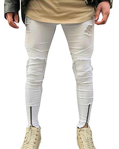 Hombre Elásticos Cómodos Jeans Slim Fit Denim vaqueros Destruido Rotos Tapered Tejanos Pantalón 39Blanco