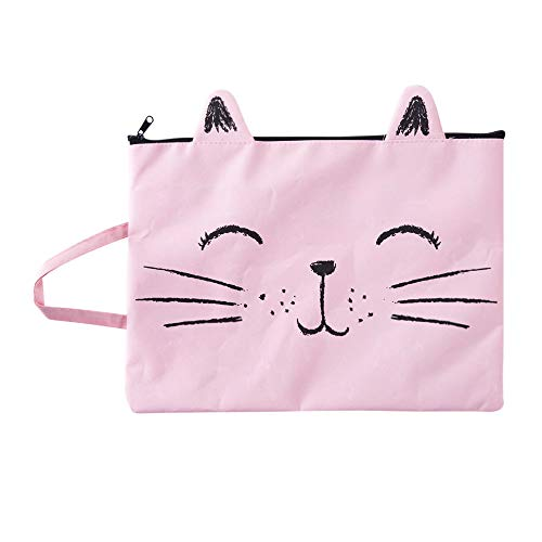 Monique A4 Size Cute Cartoon Cat Canvas File Folder Zipper Handbag Document Paper Organizer Holder Pink