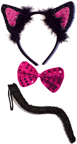 Black Cat Costume Set for Kids Adult - Halloween, Dress Up, Cosplay Accessory Kit (Black & Pink) ()