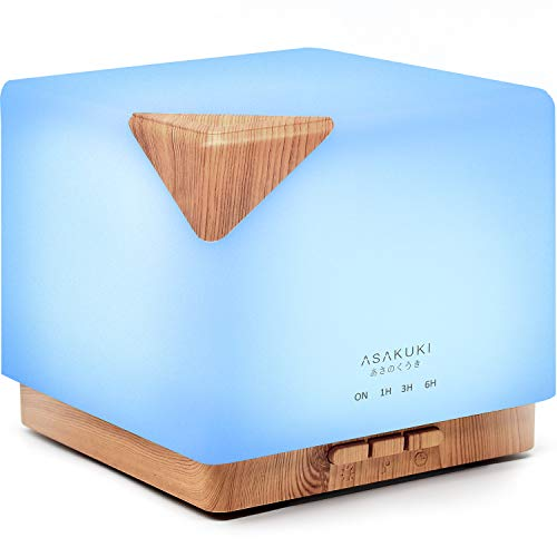 Essential Oil Diffuser, ASAKUKI 700ml Premium 5 In 1 Ultrasonic Aromatherapy Fragrant Oil Vaporizer Humidifier, Timer and Auto-Off Safety Switch, 7 LED Light Colors