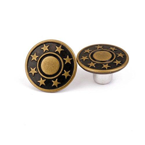 PIXNOR 50pcs Brass Star Jean Tack Buttons Kit 17mm - Army Green