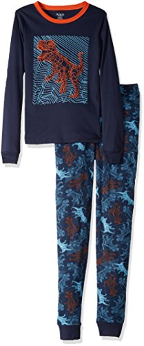 (The Children's Place Big Boys' 2 Piece Dinosaur Cotton Pajamas, Tidal 90457,)