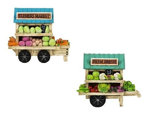 Ganz Garden Home Decor Vegetable Carts Figurines 6'' 2pc Set ER69242