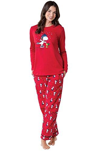 PajamaGram Christmas Pajamas Soft Cotton - Pajama Sets, Peanuts, Red, M, 8-10 ()