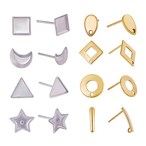 (PH PandaHall 80pcs 8 Shapes 304 Stainless Steel Blank Ear Stud Cabochon Setting Post Cup Earrings with Hole for Earring Designs Stainless Steel and Gold)