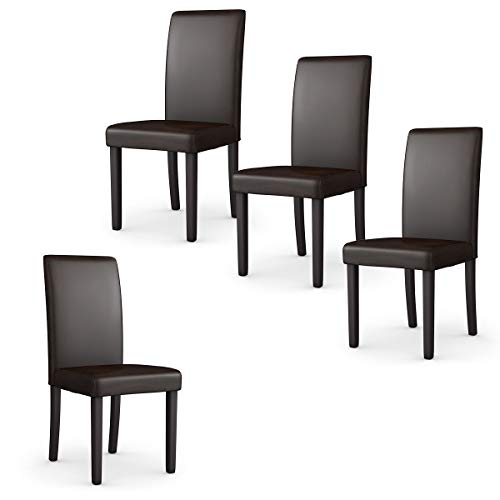 - Giantex Set of 4 Upholstered Dining Chairs Set W/PU Leather Ergonomic Design Stable Frame Wear and Resistant Cover, Back Size 14.5