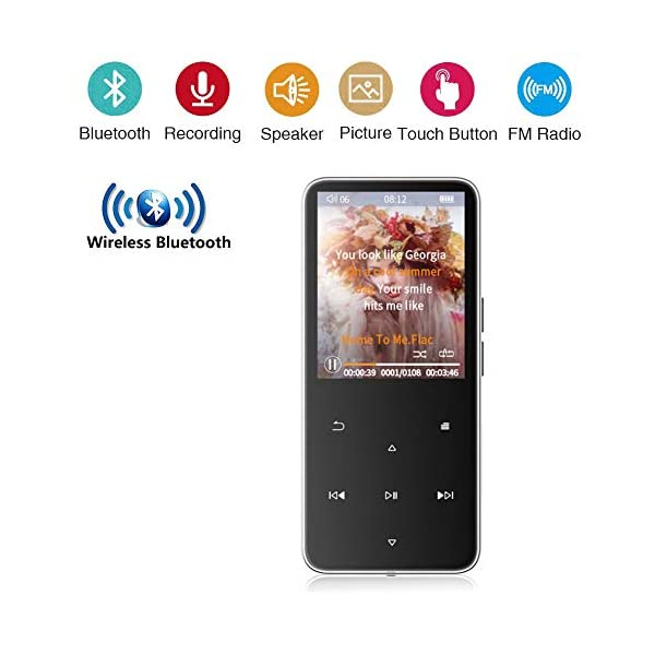Bluetooth Mp3 Player 2.4 Inch Ultra-Thin Touch Screen Mp4 Lossless Music Dual 2.5D Glass Mirror Noise Reduction Recorder Pedometer 8G, Black,Black 3