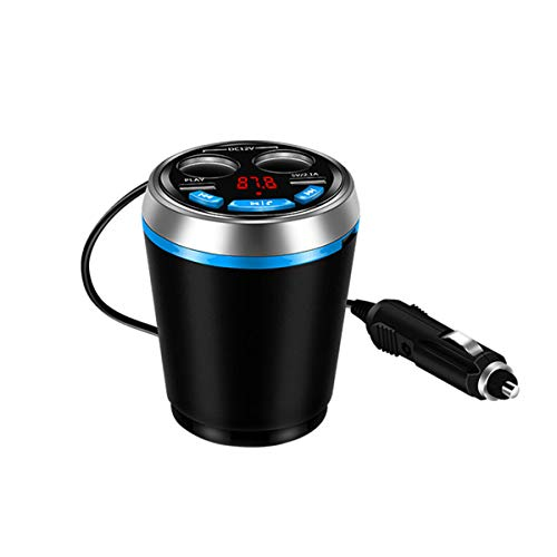 - Dual USB Car Charger Hands Free Car Kit Cup Holder Cigarette Lighter Bluetooth FM Transmitter Adapter (Blue)