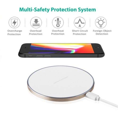 Smart|Tech 10W Wireless Charger Pad for iPhone XR Xs MAX/X/8 Plus, Samsung Galaxy S10|S10+|S10E/S9/S8/S7/S7 Edge/Note 9|10 Metal Frame Qi-Enabled Fast Wireless Charging Mat (No AC Adapter) White-Gold