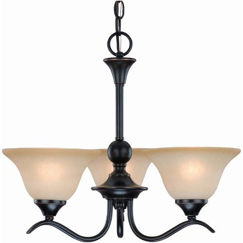Dover 12-7622 Series Oil Rubbed Bronze 3-Light Chandelier (Bronze 3 Chandelier Finish Light)