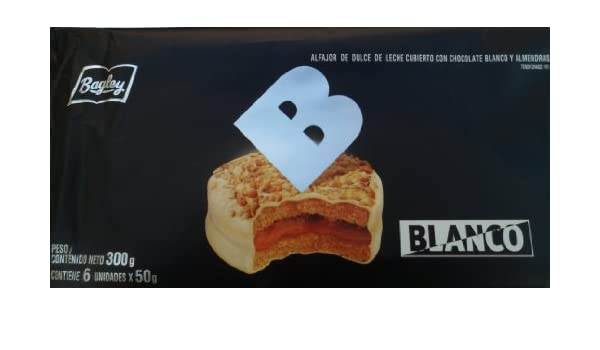 Amazon.com: Alfajor de Dulce de Leche Cubierto con Chocolate Blanco y Almendras Net Wt 10.6 oz (300g)