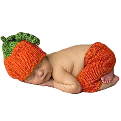 Baby Photography Props Boy Girl Photo Shoot Outfits Newborn Crochet Costume Infant Knitted Halloween Clothes Pumpkin Hat Pants