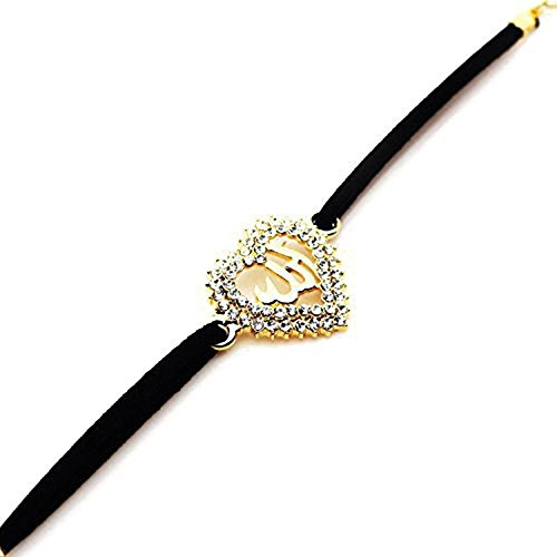 - MCSAYS Fashion Gold Plated Muslim Islam Allah Diamond Heart Pendant with Black Rope Chain For Women