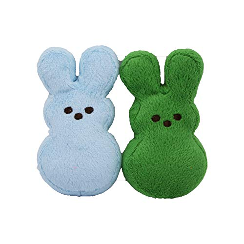 Peeps for Pets Plush Bunny Toys for Dogs, Blue/Green, Mini/2 Pack (Round Dog Toys)